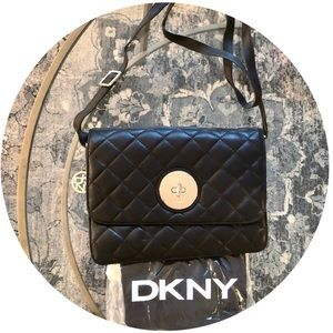 NEW DKNY Black Leather Quilted Crossbody or Clutch